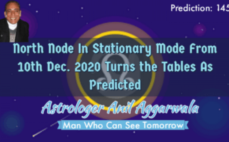 North Node In Stationary Mode From 10th Dec. Turns the Tables As Predicted Astrologer Anil Aggarwala