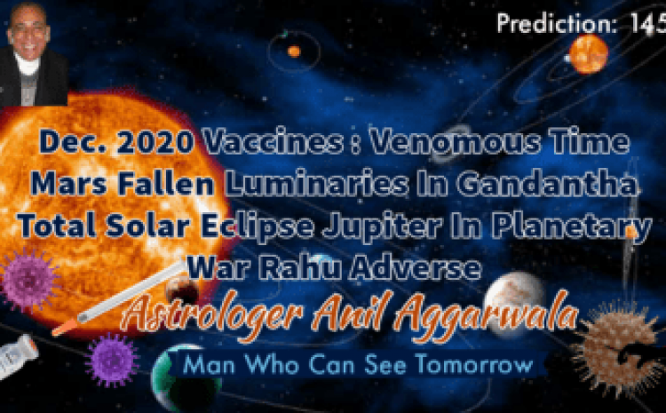 Dec. 2020 Vaccines : Venomous Time Mars Fallen Luminaries In Gandantha Total Solar Eclipse Jupiter In Planetary War Rahu Adverse Astrologer Anil Aggarwala