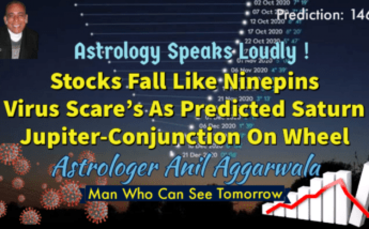 Astrology Speaks Loudly ! Stocks Fall Like Ninepins Virus Scare's As Predicted Saturn Jupiter-Conjunction On Wheel Astrologer Anil Aggarwala