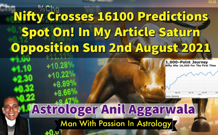 Nifty Crosses 16100 Predictions Spot On! In My Article Saturn Opposition Sun 2nd August 2021